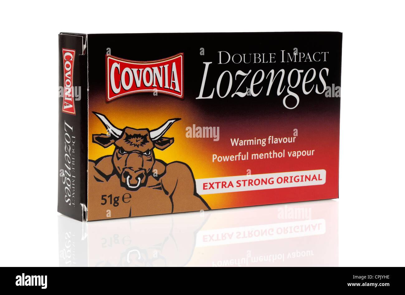 Box of Covonia double impact lozenges - Stock Image