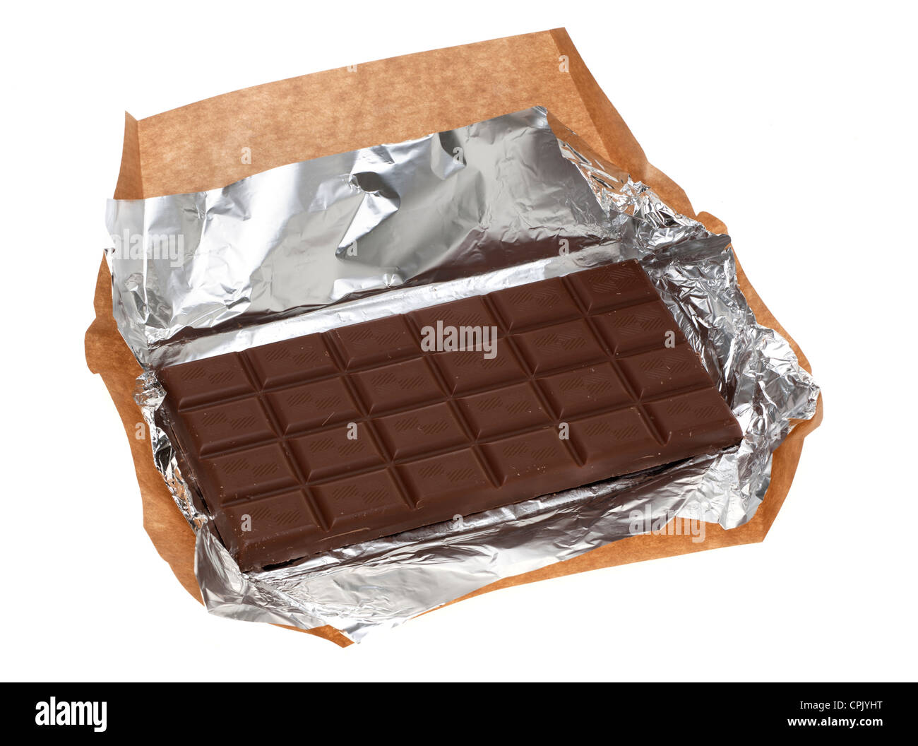 Block of milk chocolate wrapped in brown paper Stock Photo