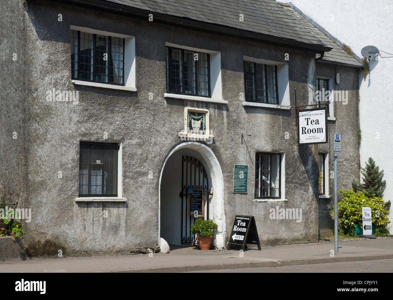 Facade of Sandes Hospital, with datestone of 1659, Highgate, Kendal Cumbria, England UK - Stock Image