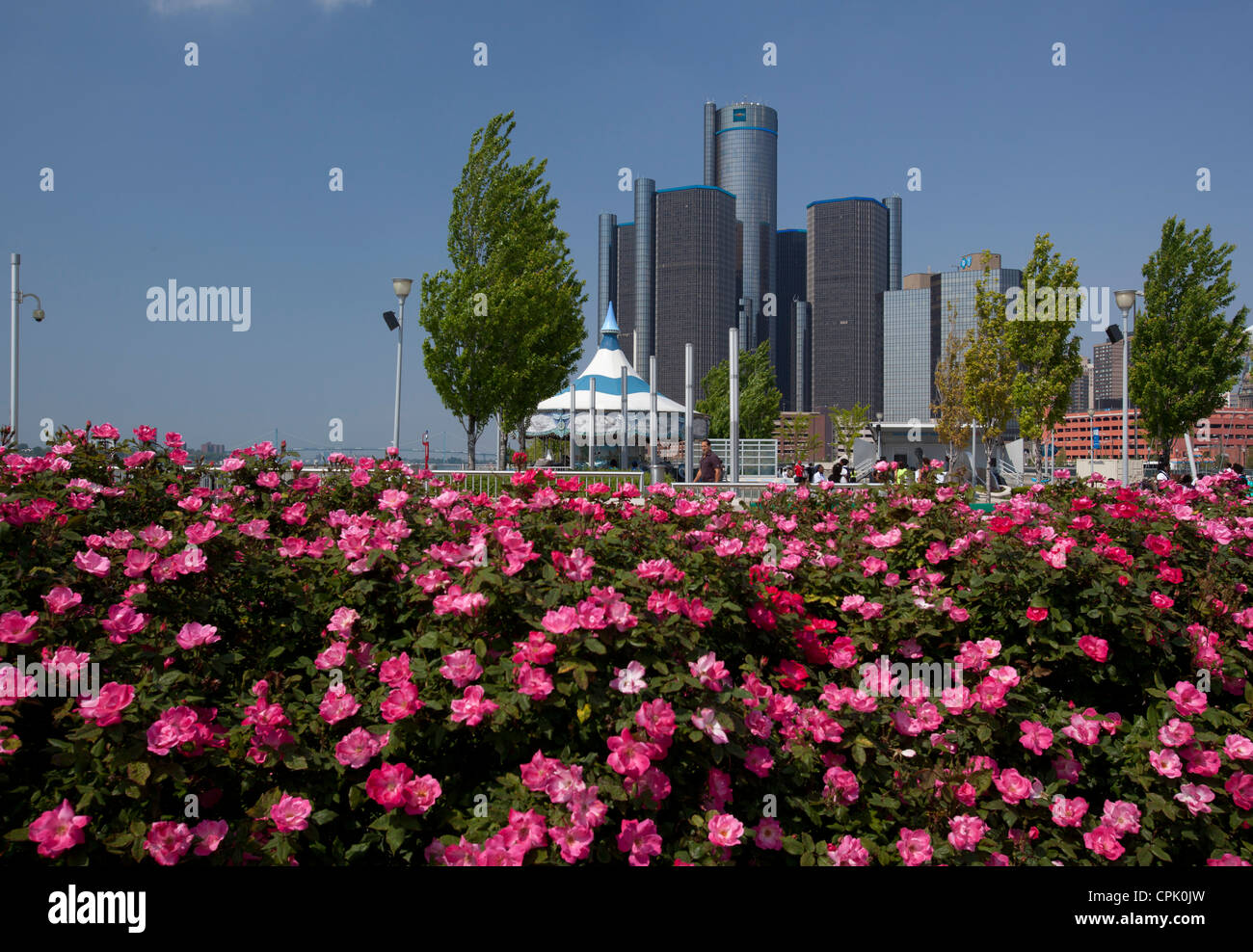 The Renaissance Center, headquarters of General Motors, photographed from William G. Milliken State Park - Stock Image