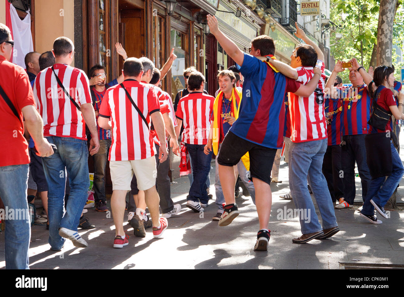 The final of the Copa del Rey has Madrid buzzing with Athletic Bilbao and FC Barcelona supporters. - Stock Image
