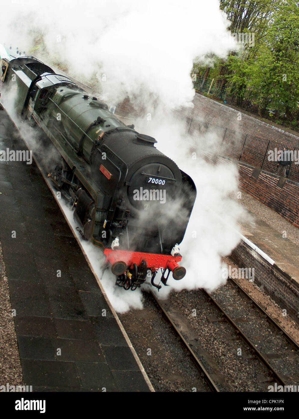Locomotive Britannia at The Llangollen Steam and Beer Festival North Wales UK April 2012 Stock Photo