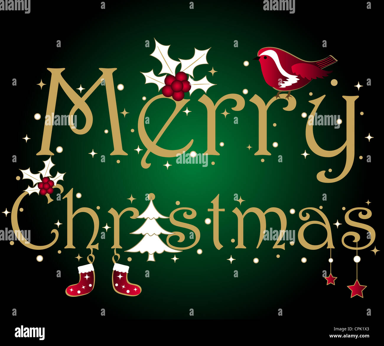 Merry Christmas wishes with tree, holly, stars and robin Stock Photo