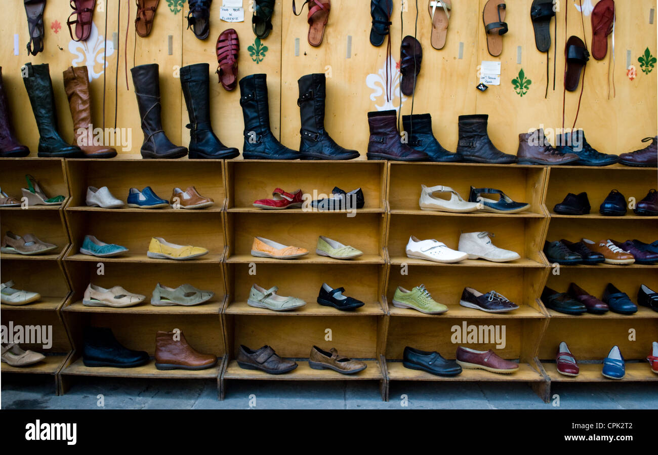 High quality shoes on sale in a shop in Florence Italy. - Stock Image