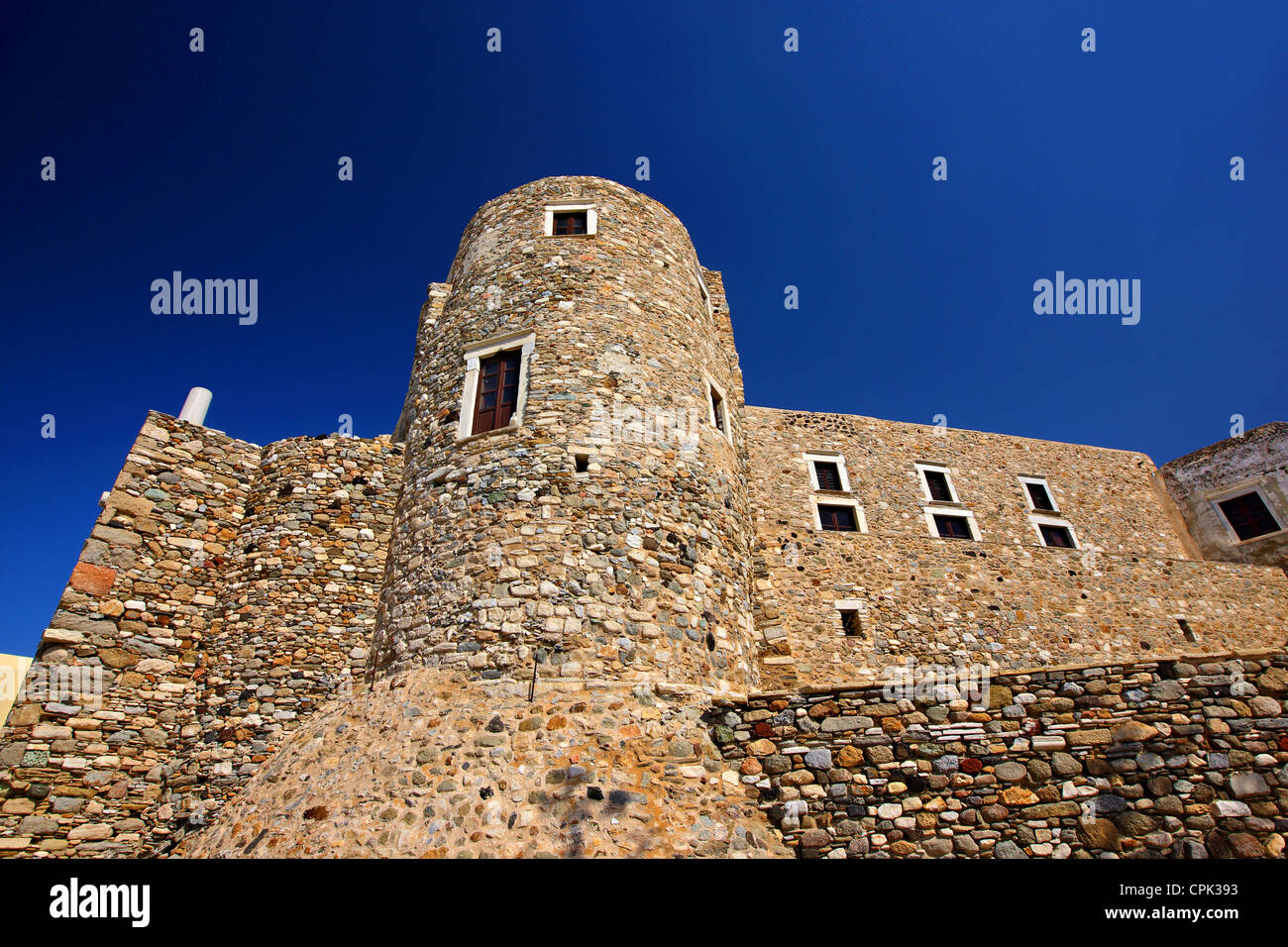 """The """"Crispi tower"""" (also known as """"Glezos tower"""") in the castle of Sanoudos, Chora of Naxos, Naxos island, Cyclades, Stock Photo"""