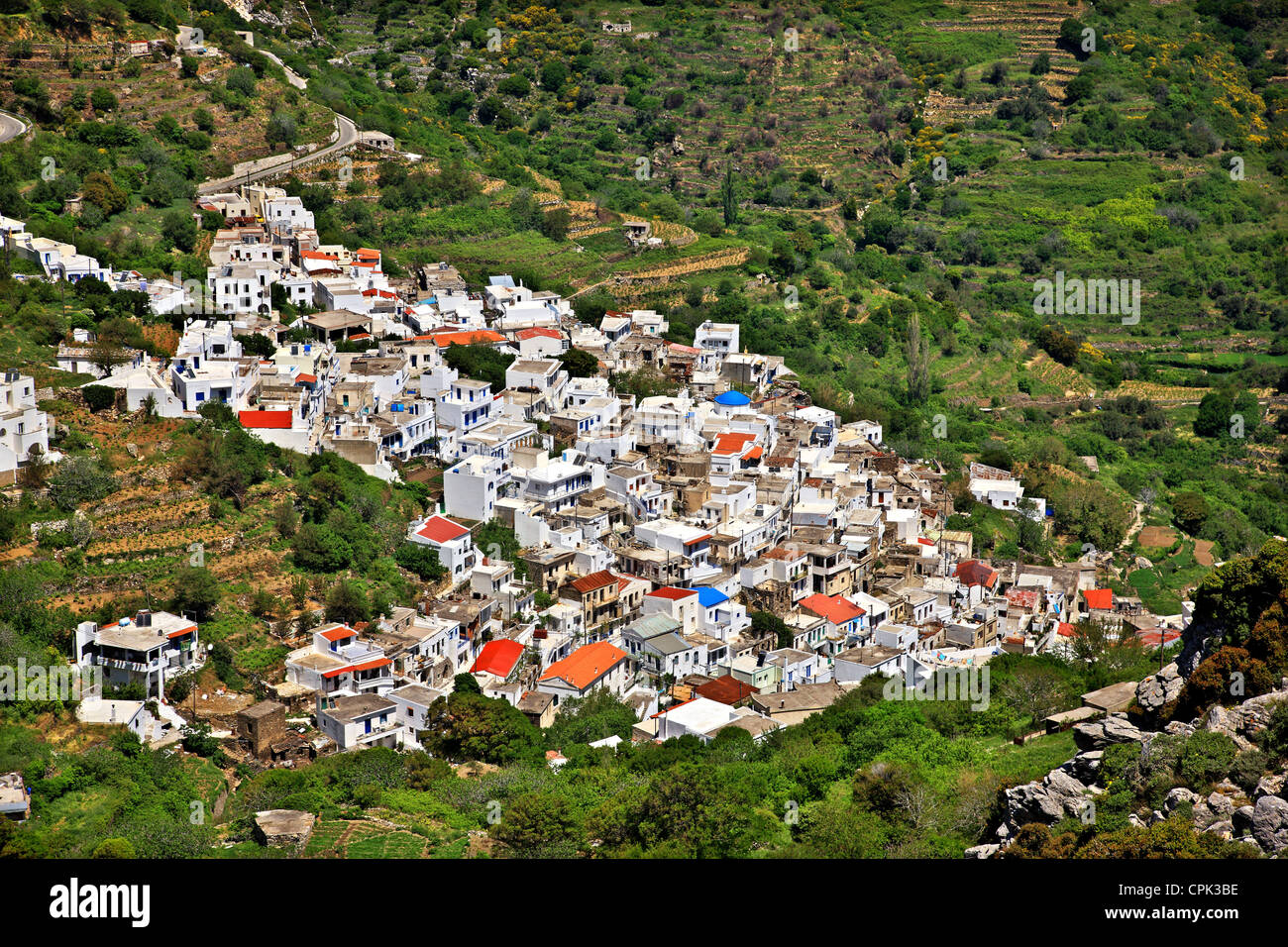 Koronos village, one of the most beautiful mountainous villages of Naxos island, Cyclades, Greece. - Stock Image