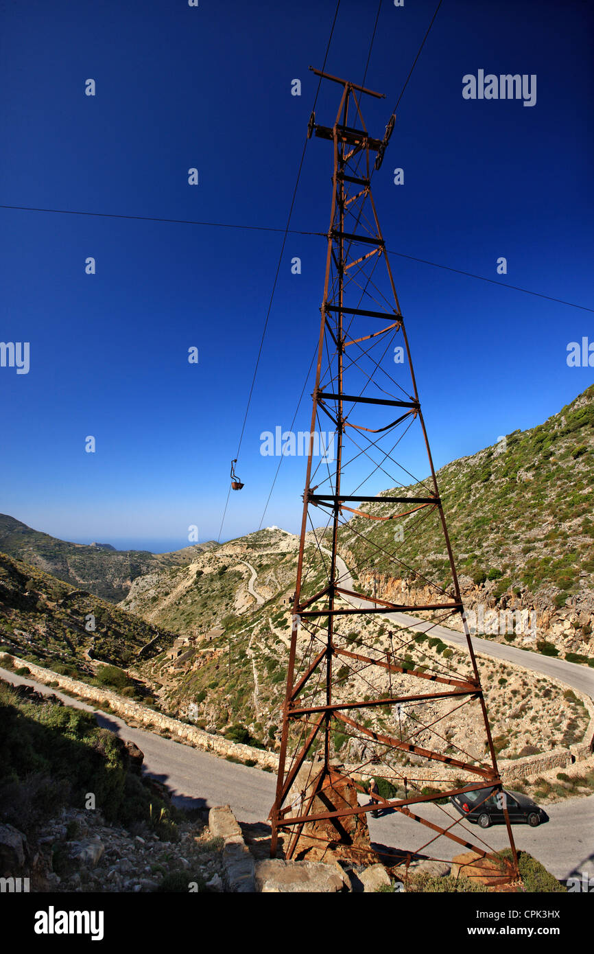 The cable cars of the old emery mines remain still for decades, close to Koronos village, Naxos island, Cyclades, - Stock Image