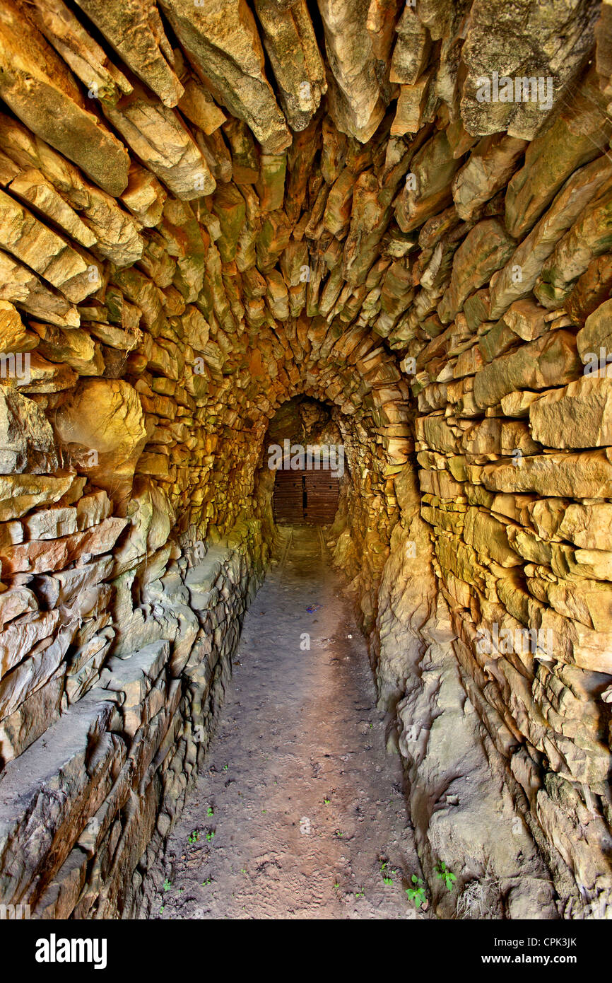 The entrance of an abandoned emery mine, between Koronos and Lionas villages, Naxos island, Cyclades, Greece. - Stock Image