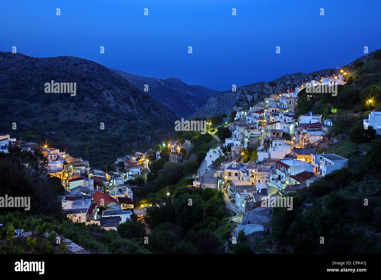 Night view of Koronos village, one of the most beautiful mountainous villages of Naxos island, Cyclades, Greece. - Stock Image