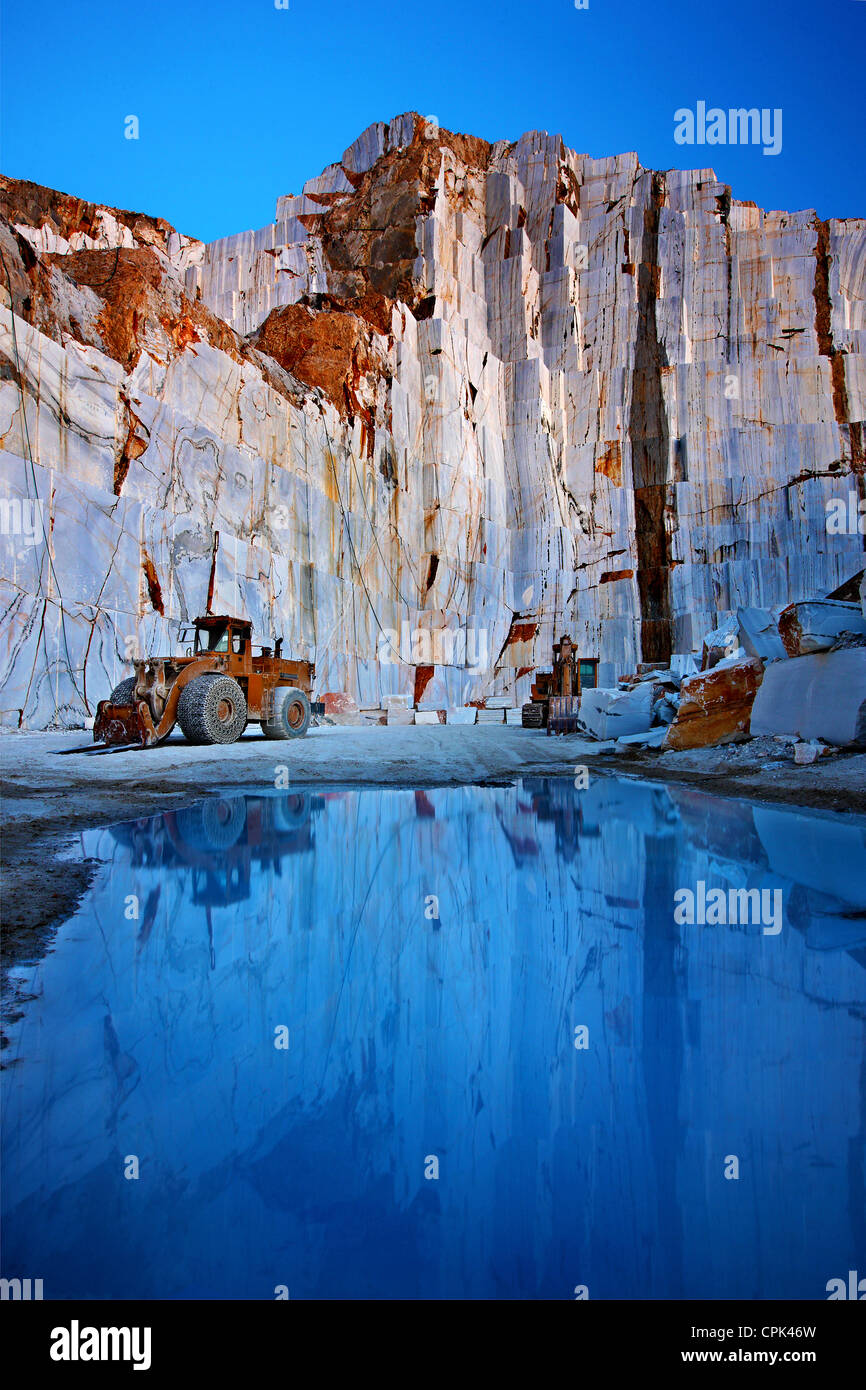 Marble quarry close to Kinidaros village, Naxos island, Cyclades, Greece - Stock Image