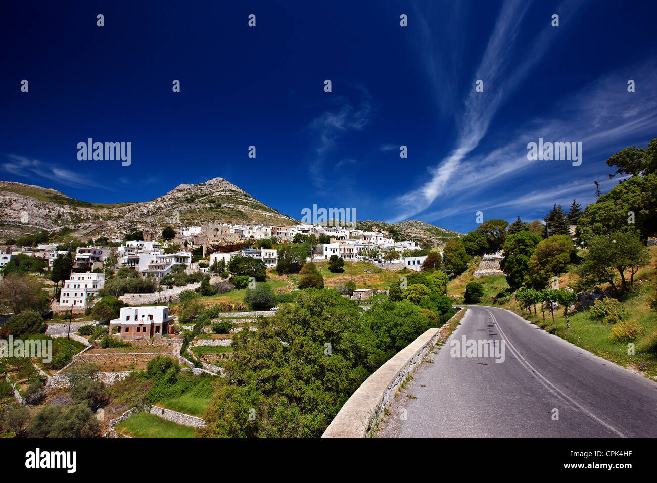 Apiranthos (or 'Apeiranthos')  village, one of the most beautiful mountainous villages of Naxos island, - Stock Image