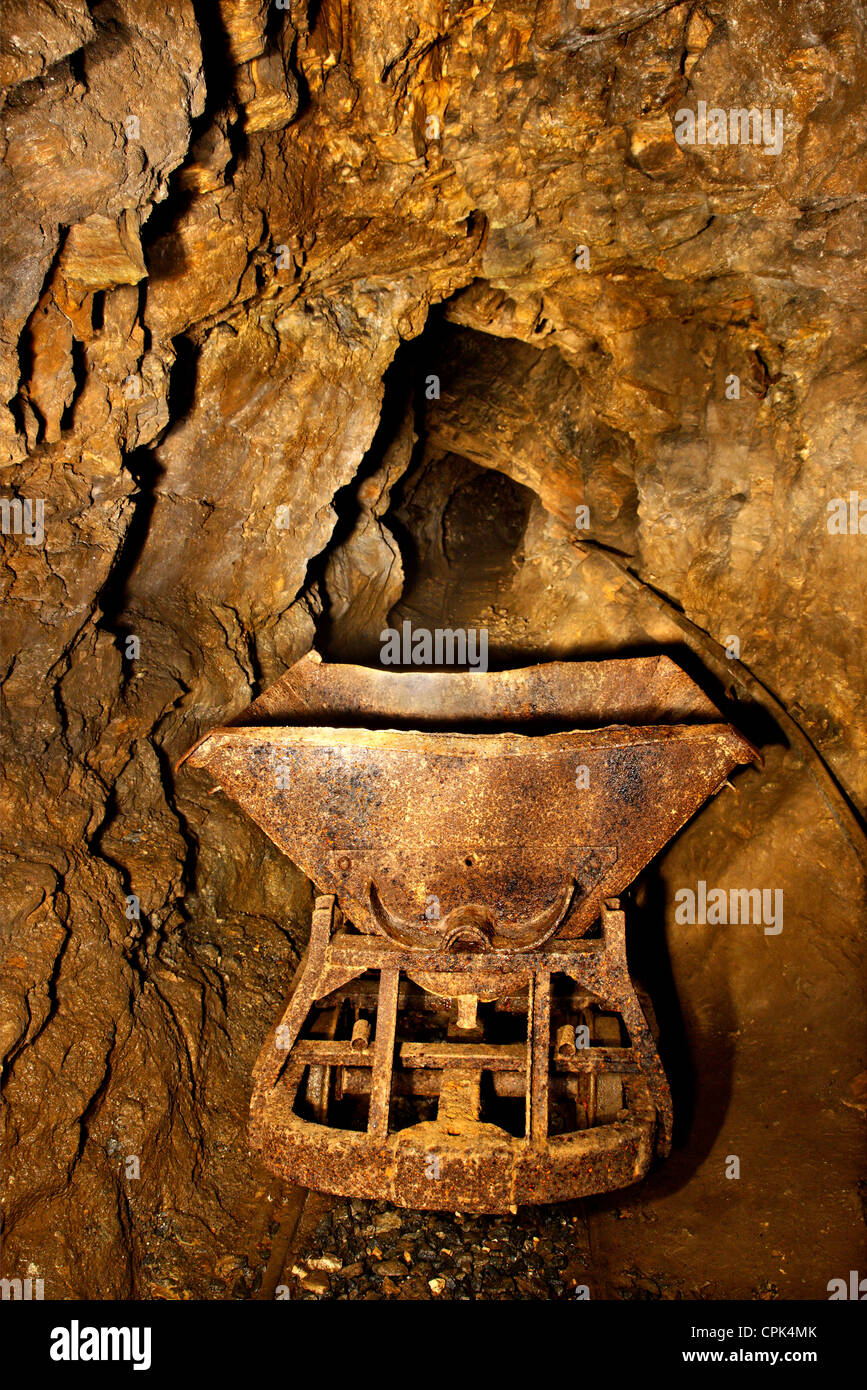 Inside an abandoned emery mine, between Koronos and Lionas villages, Naxos island, Cyclades, Greece. - Stock Image