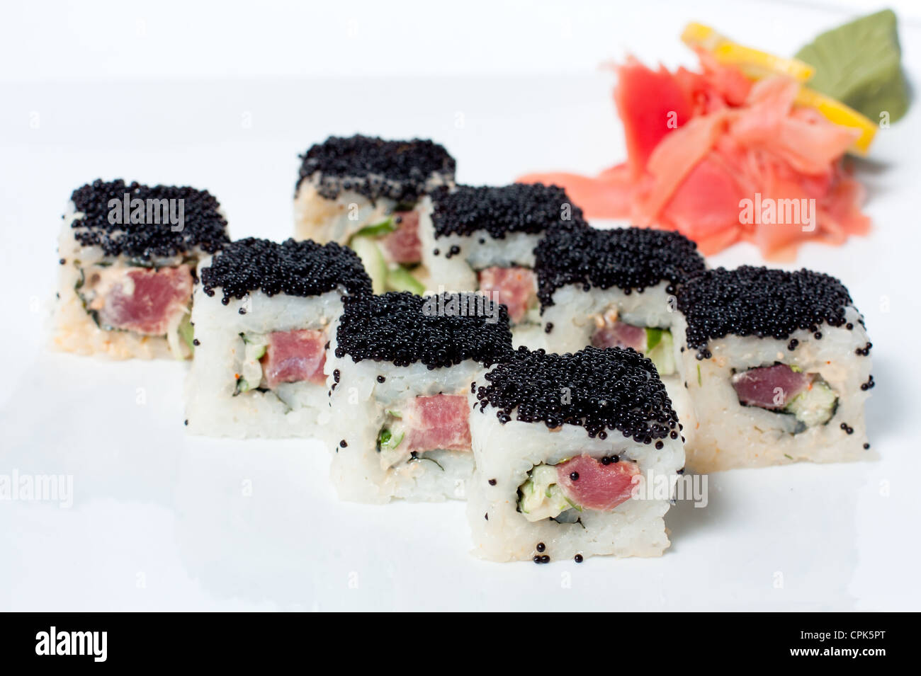Sushi Roll with black caviar. - Stock Image
