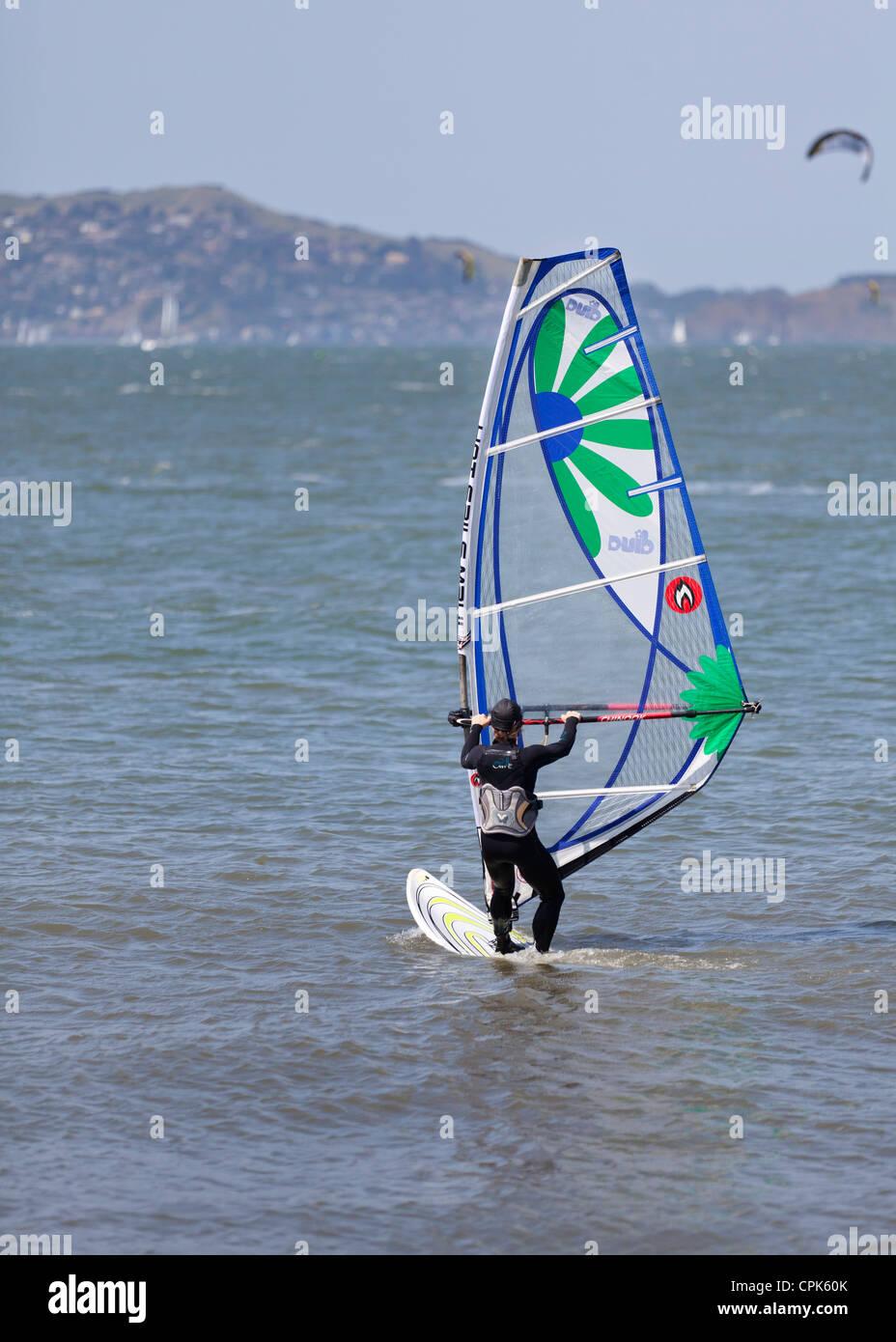 Windsurfer on the water - San Francisco, California USA - Stock Image