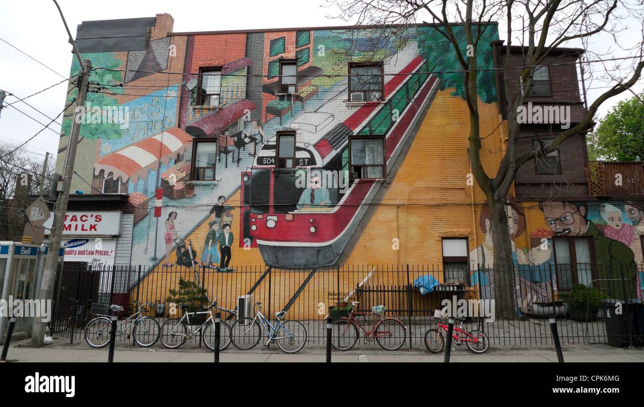 A local neighbourhood street art wall mural roncesvalles toronto ontario canada kathy dewitt