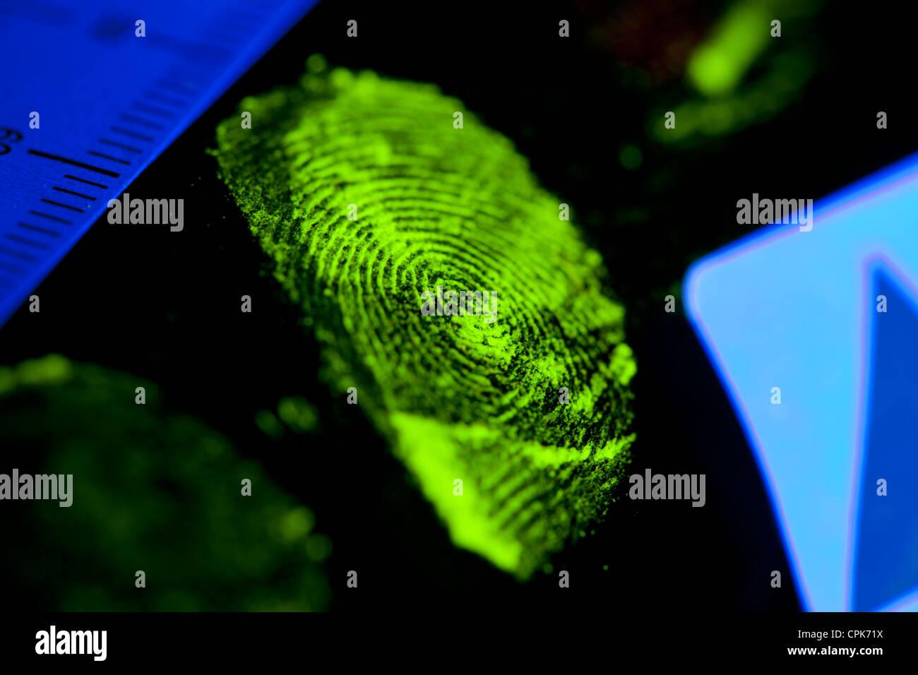 Crime scene fingerprint on object enhanced with ultraviolet dusting powder and photographed under ultraviolet light - Stock Image