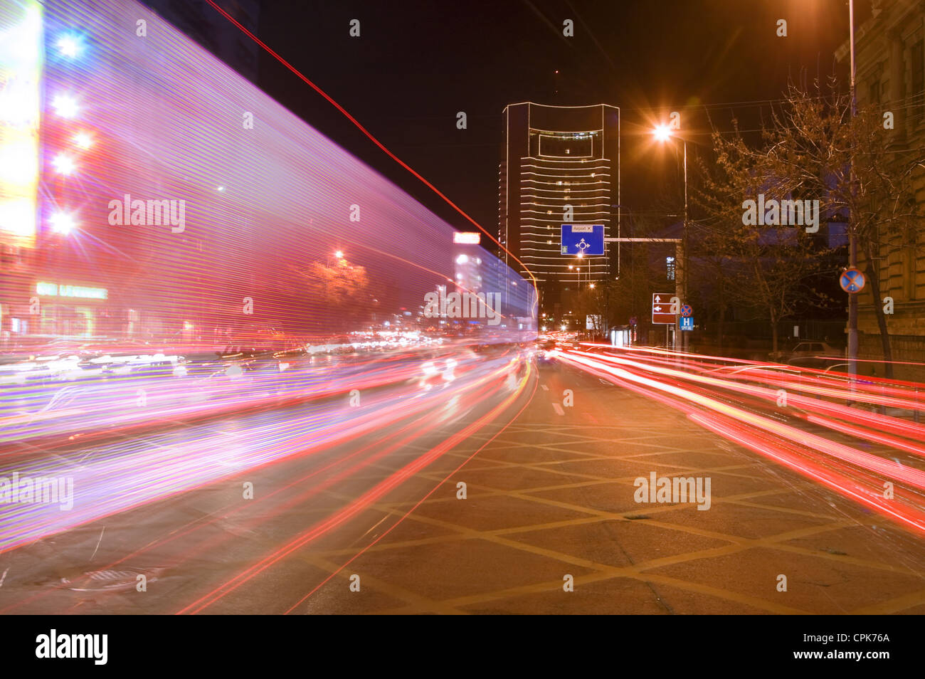Interesting blurred image of night traffic in a big city.Location:Bucharest,Romania. - Stock Image