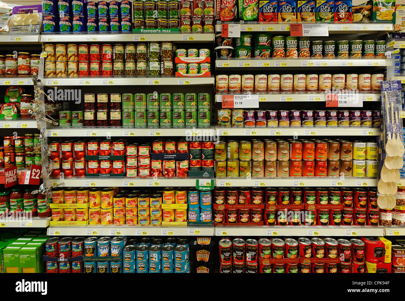 Tinned Food Aisle of a Supermarket, UK. - Stock Image