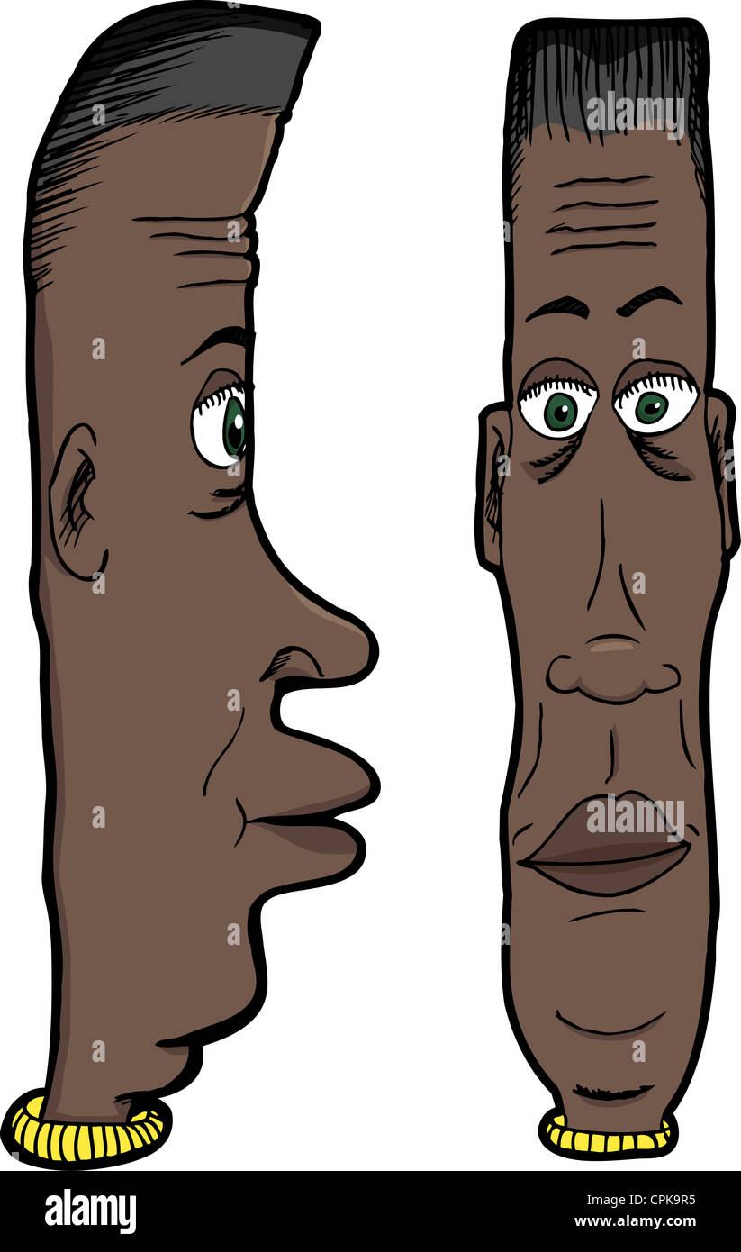 Cartoon Of Long Faced Black Man With Green Eyes Stock Photo
