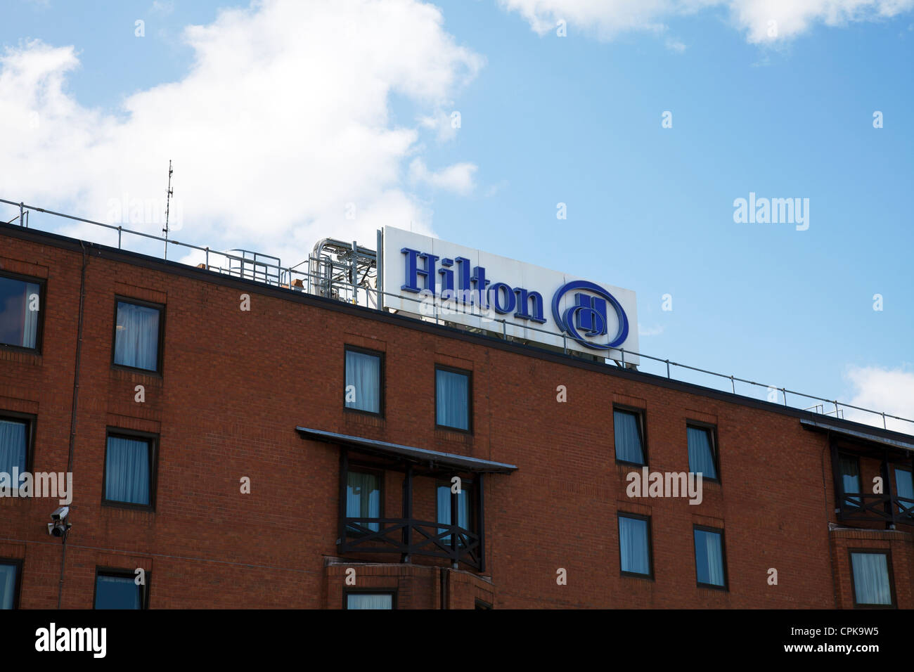 Hilton Hotel at Manchester Airport front sign - Stock Image