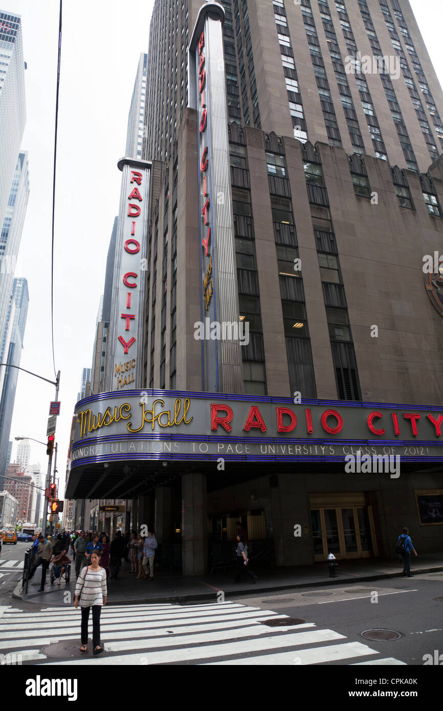 Radio City Music Hall Manhattan New York City New York USA exterior of building outside day time - Stock Image