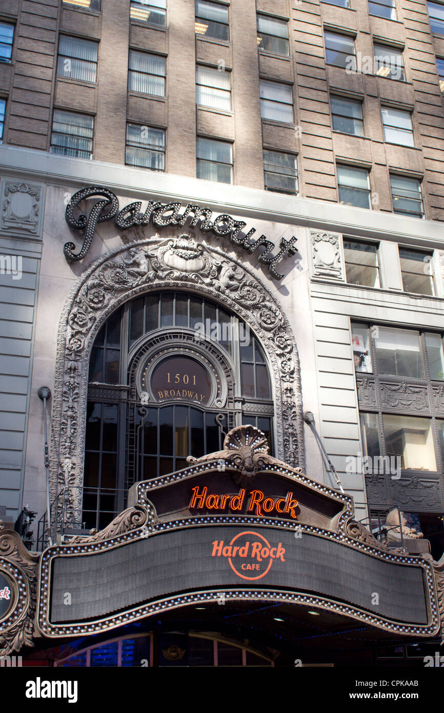 The original Paramount Theater in Times Square, New York City, now the site of a Hard Rock Cafe - Stock Image