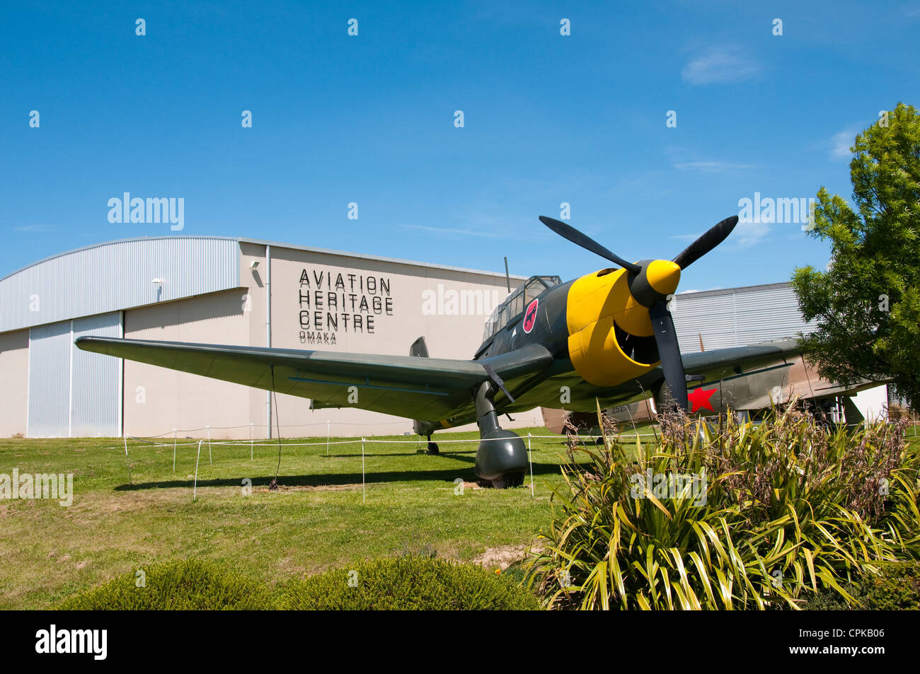 New Zealand South Island Marlborough, exhibits at Omaka Aviation Heritage Centre of WWI aerial combat airplanes - Stock Image