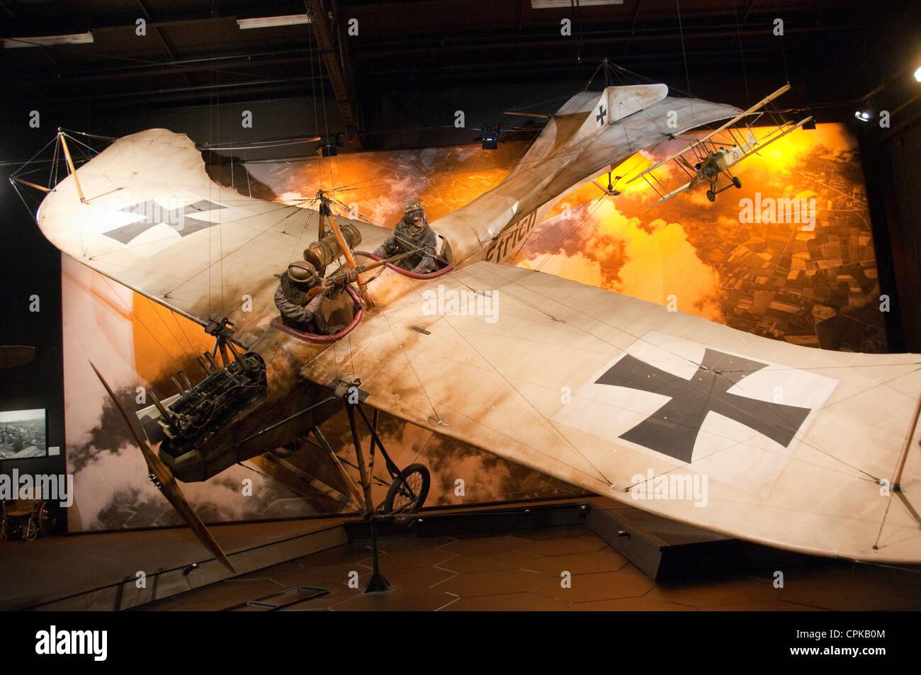 New Zealand Marlborough, exhibits at Omaka Aviation Heritage Centre of WWI aerial combat - Stock Image