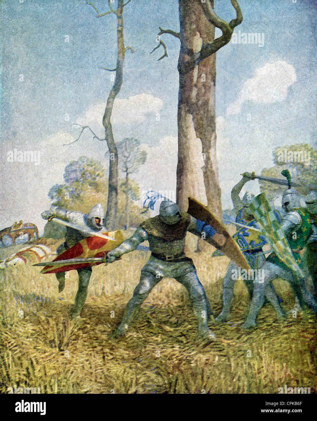 Sir Tristam and Sir Dinadan fight with knights on foot for more than three hours. - Stock Image
