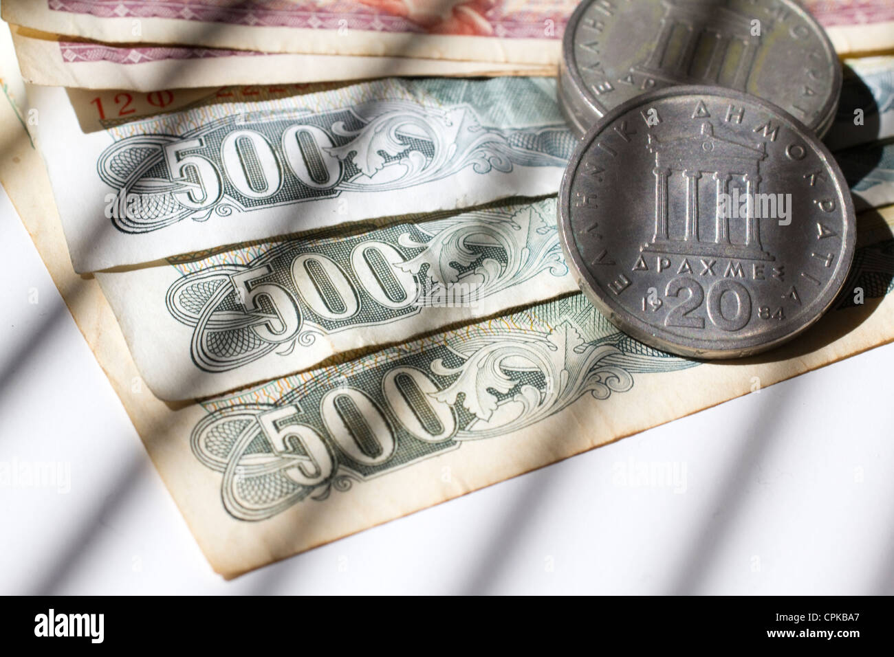 currency drachma drachmas money cash Drachmas are the previous currency of greece - Stock Image