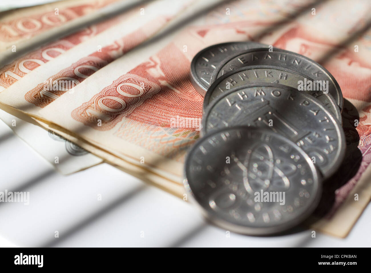 the greek currency drachma drachmas money cash , previous currency of greece - Stock Image