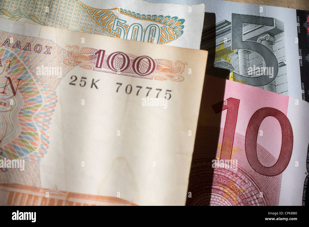 greek currency drachma drachmas previous currency of greece money cash, with euro notes Euros currency of European - Stock Image