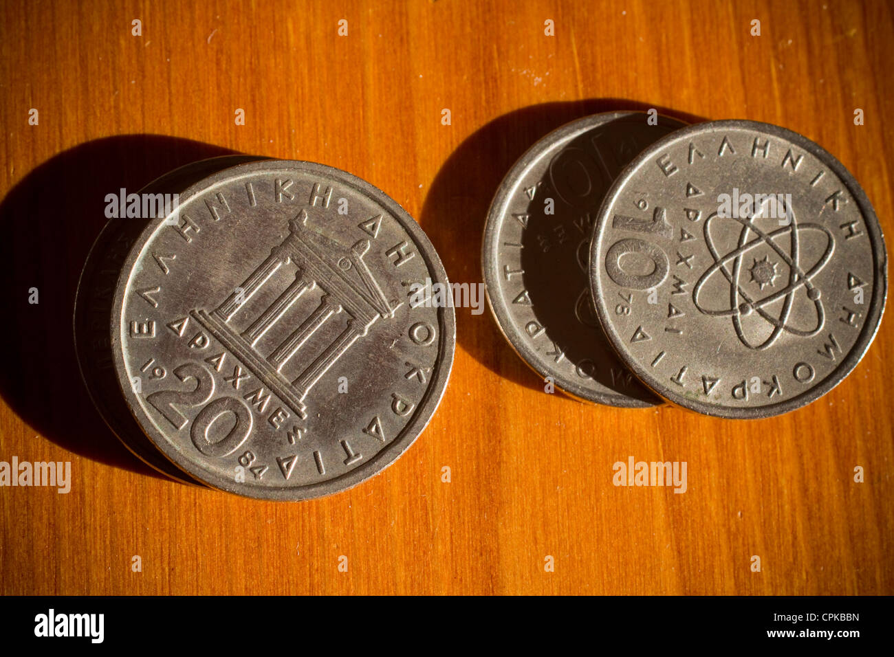 greek drachma coins drachmas Drachmas are the previous currency of greece - Stock Image