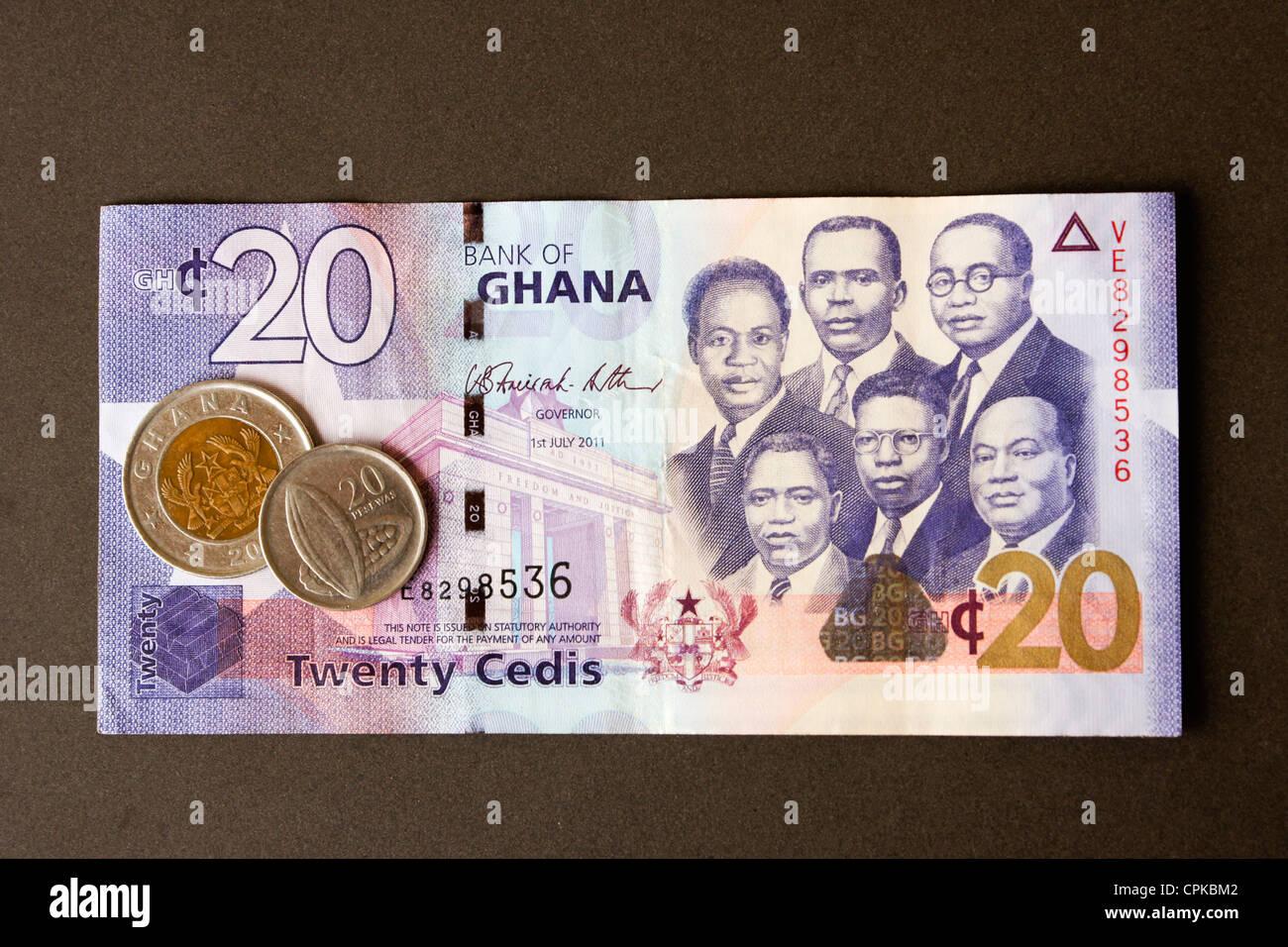 Currency of Ghana (cedi and pesewa) - Stock Image