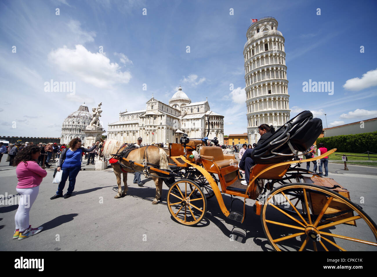 HORSE & CARRIAGE AT LEANING TOWER PISA TUSCANY ITALY 08 May 2012 - Stock Image