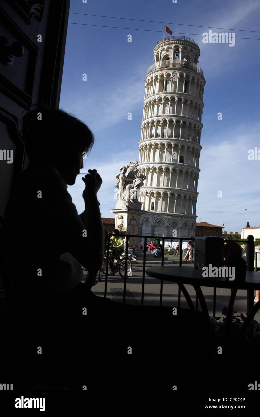 WOMAN SILHOUETTE THE LEANING TOWER PISA TUSCANY ITALY 09 May 2012