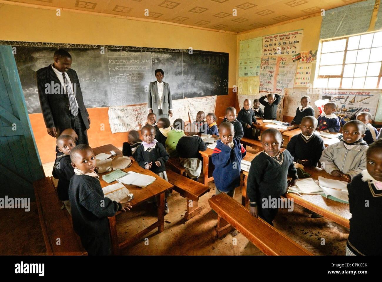 Kenyan children in kindergarten classroom Stock Photo