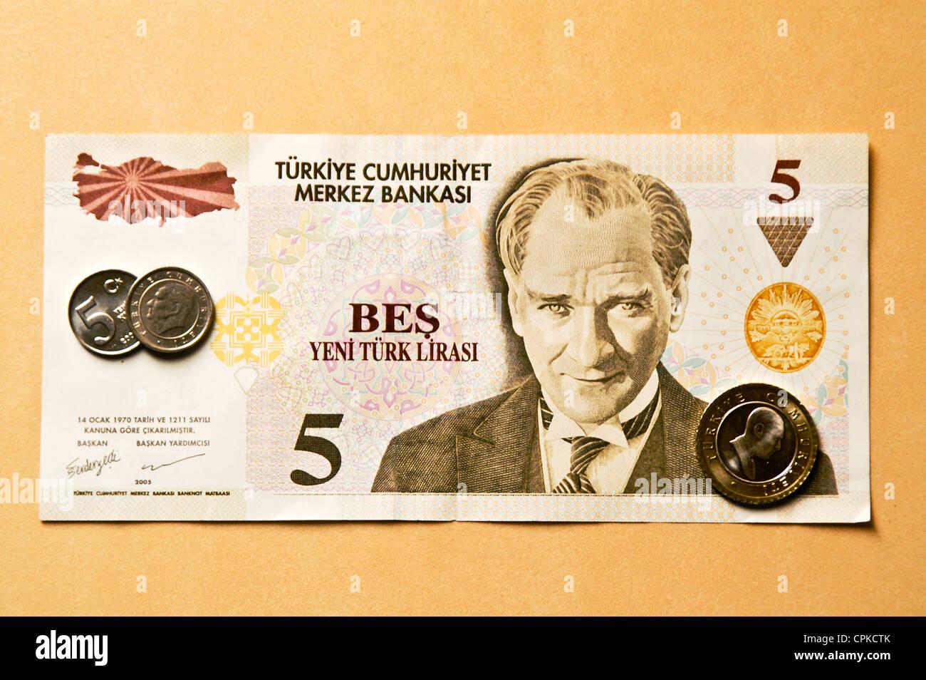 Currency of Turkey (Turkish lira) Stock Photo