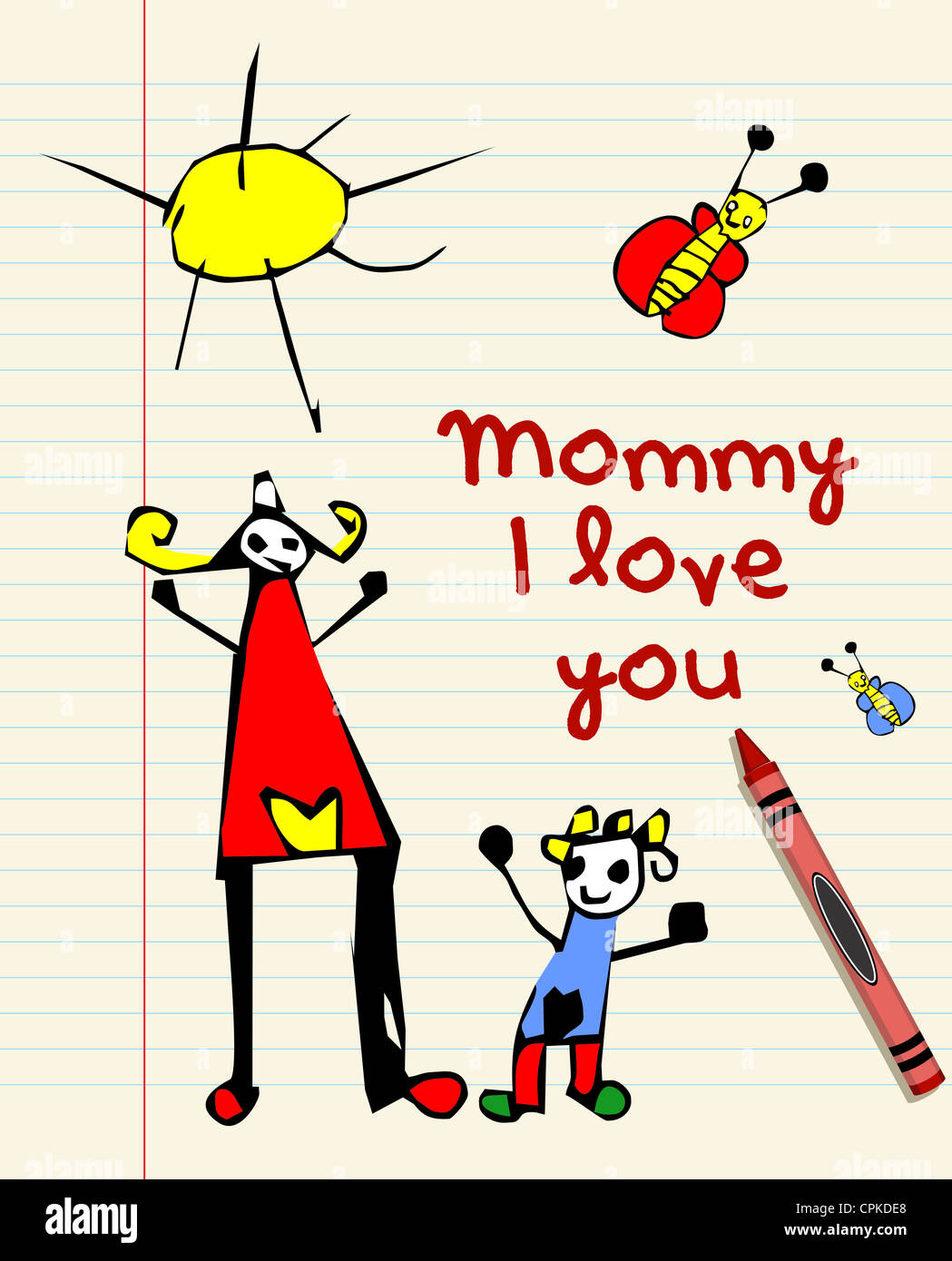 I love you mommy child drawing on striped sheet background. Vector file layered for easy manipulation and custom - Stock Image