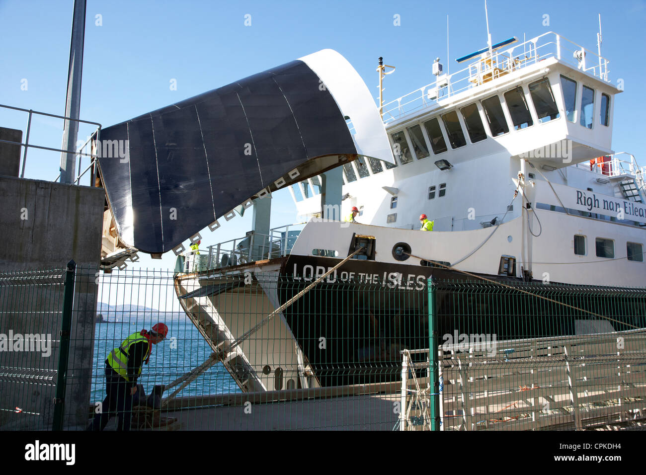 bow door open on the calmac caledonian macbrayne mv lord of the isles ferry at oban terminal scotland - Stock Image