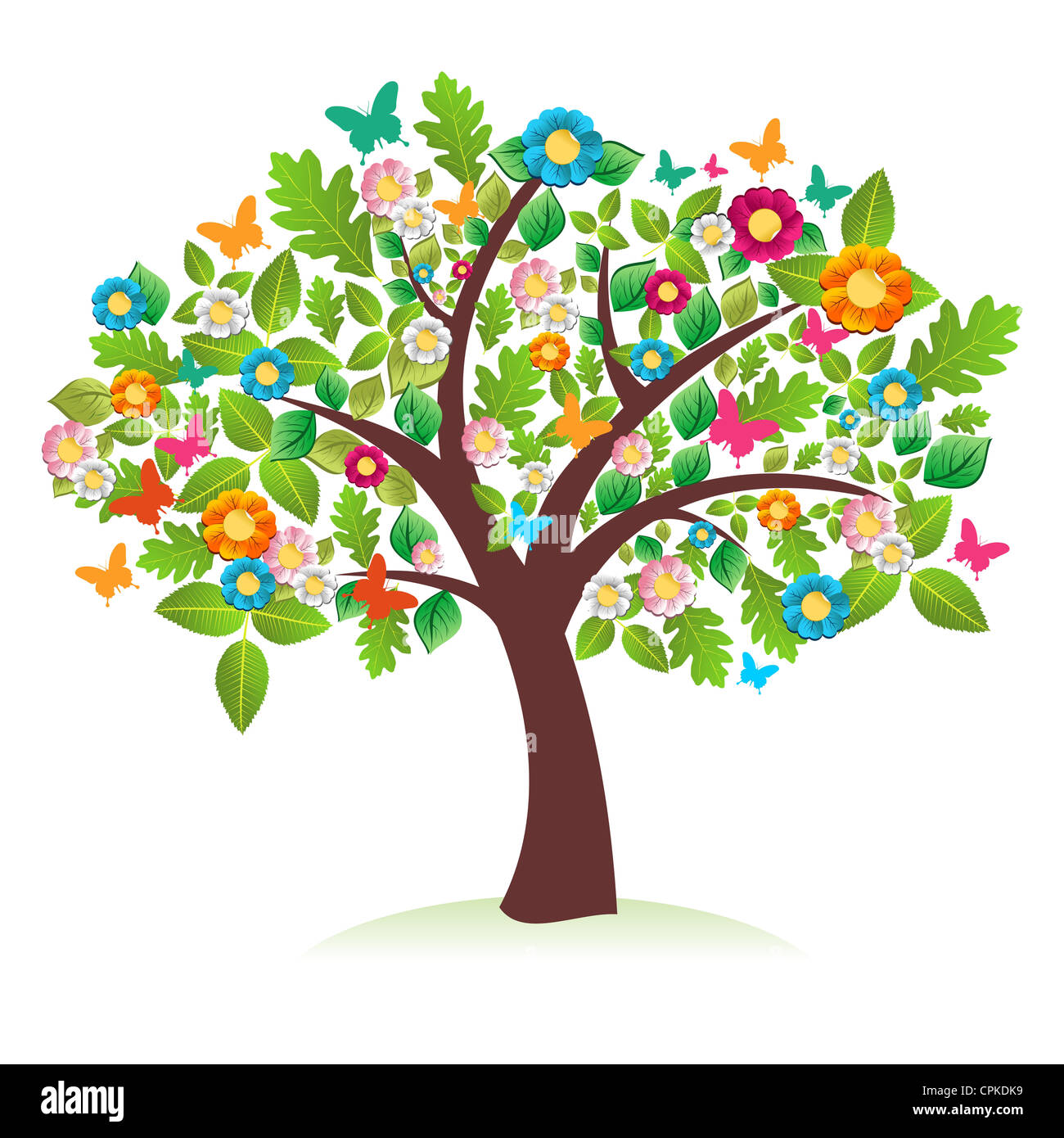 Abstract spring time tree composition with flowers. Vector file ...