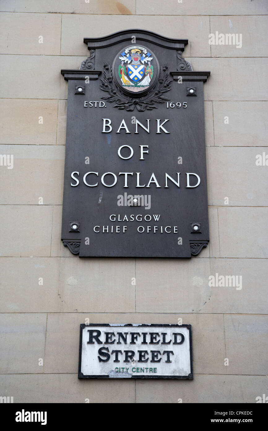 old sign for the bank of scotland glasgow chief office on renfield street glasgow scotland - Stock Image