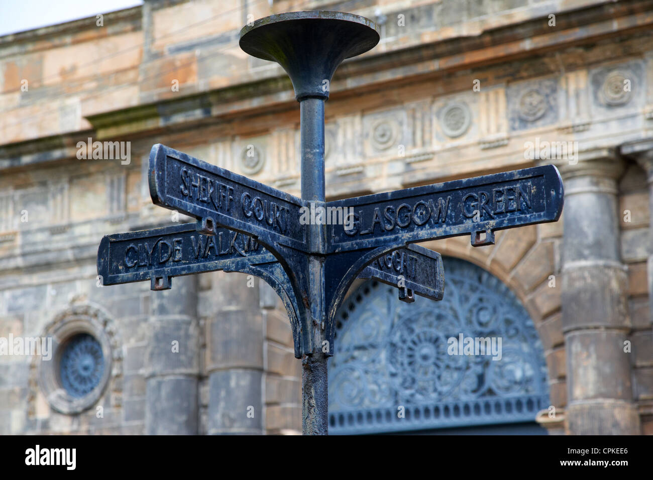 old metal street signs in merchant city glasgow scotland - Stock Image