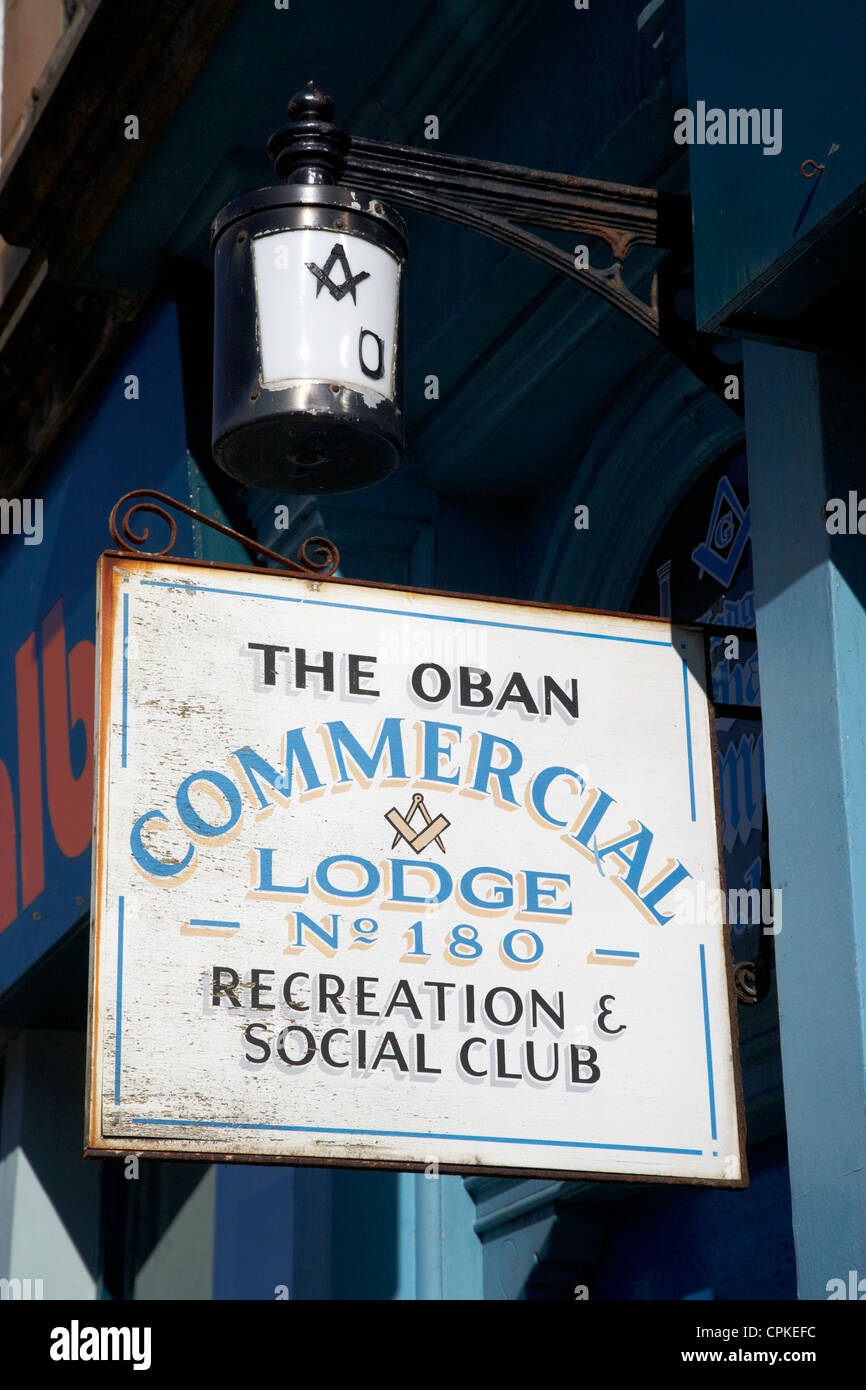 the oban commercial free masons lodge scotland - Stock Image