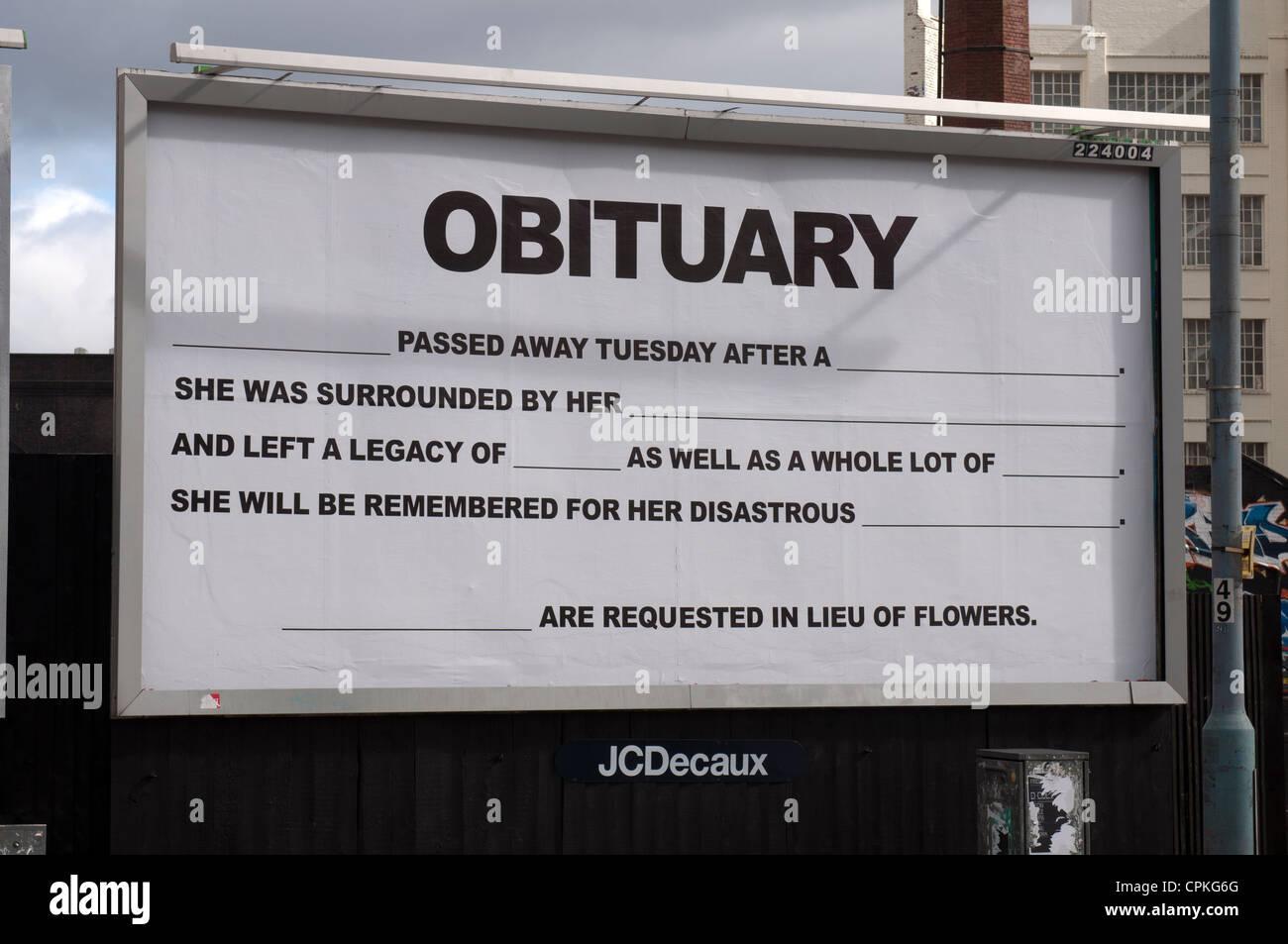 48 Sheet Billboard Project, Birmingham, UK - Stock Image