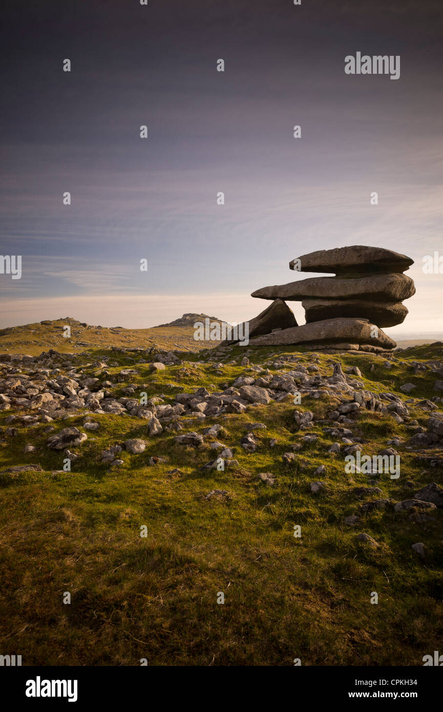 Showery Tor near Rough Tor or Roughtor on Bodmin Moor, Cornwall Stock Photo