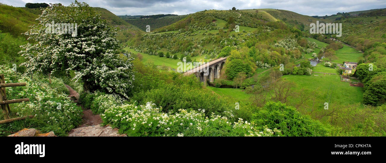 summertime view over the river Wye valley from Monsal Head beauty spot, Peak District National Park, Derbyshire - Stock Image