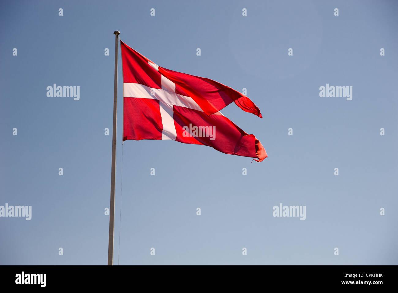 Waving flag of Denmark - Stock Image