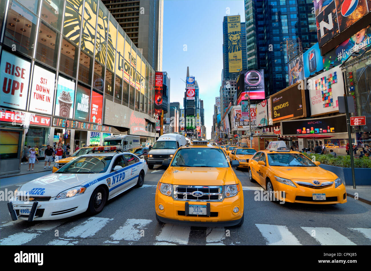 Broadway at Times Square in New York City. - Stock Image