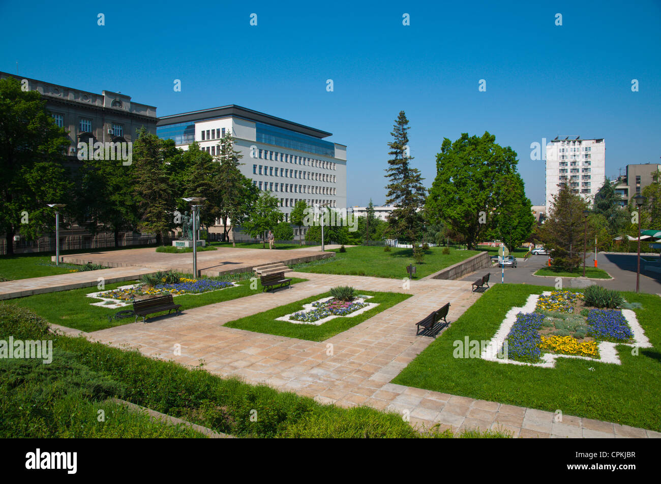Newly refurbished Finansijski park the park next to Financial ministry buildings central Belgrade Serbia Europe - Stock Image